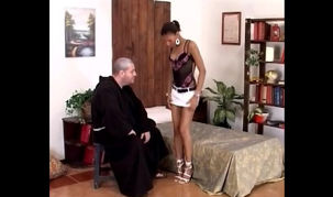Elderly priest unclothes virgin..