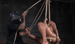 Flagellated black gimp gets draped by..