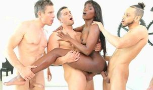 Ebony gal  several milky studs at the..